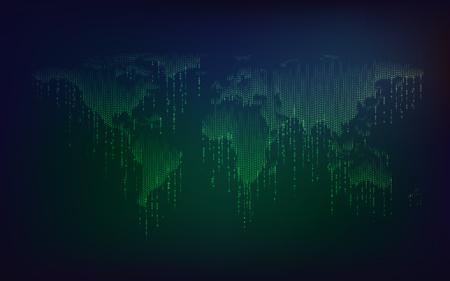 기술 발전의 개념, 이진 코드와 결합 된 세계지도의 모양