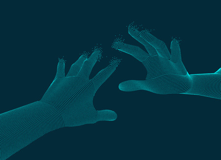 Graphic of two dotted hand reaching to each other, concept of virtual reality technology. Vettoriali
