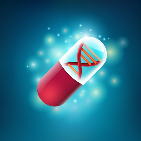 concept of health care technology, graphic of realistic transparent pill with shape of DNA inside