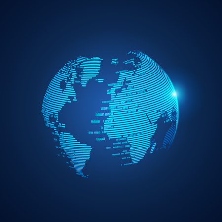 concept of digital world, graphic of technological globe combined with binary code