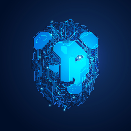 Futuristic lion head, shape of lion head combined with electronic board, concept of powerful technology.