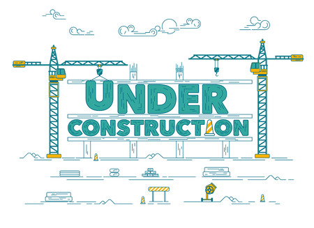 Concept of under construction website, graphic of construction site with industrial crane. Illustration