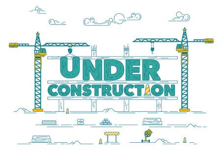 Concetto del sito Web in costruzione, grafico del cantiere con gru industriale.