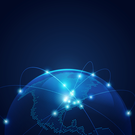 Concept of communication world or global network, graphic of dotted globe with light wire.