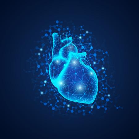 과학적인 스타일, 과학 기술 발전의 개념에 다각형 구조와 현실적인 심장의 그래픽. 일러스트