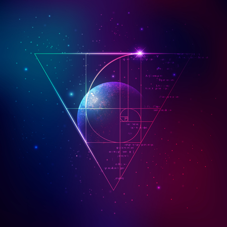 Concept of applied astronomy, graphic of golden ratio with outer space background.