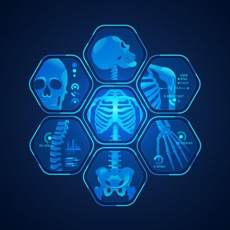 Concept d'avancement de la technologie scientifique, graphique de la numérisation corporelle avec radiographie du squelette. Vecteurs
