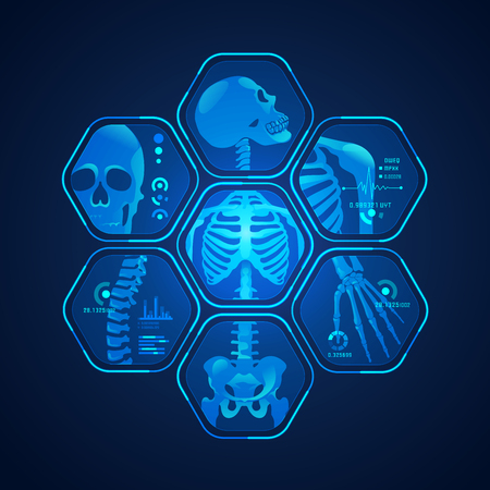 Concept of science technology advancement, graphic of body scan with skeleton x-ray.