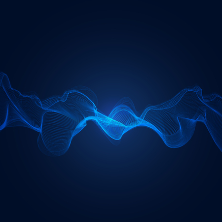 Abstract blue digital frequency equalizer, sound wave pattern element.