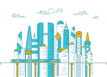 vector of city with building and skytrain, concept of metropolis development, graphic of urban technology for infographic Illusztráció