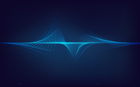 abstract digital technology blue equalizer, sound wave pattern element for decoration