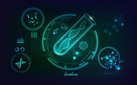 Concepto de ingeniería genética, un vector de tubo de ensayo realista y forma de ADN en el interior con interfaz de análisis de tecnología científica Ilustración de vector