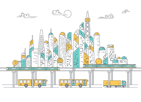 vector of city with building and skytrain, concept of metropolis development, graphic of urban technology for infographic Illustration