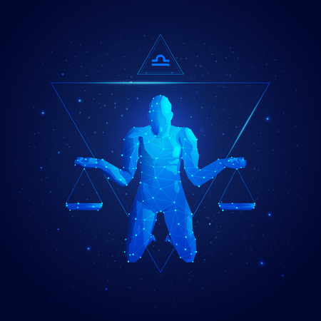 Graphic of Libra horoscope sign in twelve zodiac with galaxy stars background, graphic of polygon man