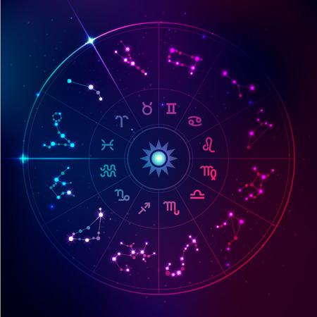 Graphic of horoscope signs in futuristic technology style, galaxy stars in zodiac