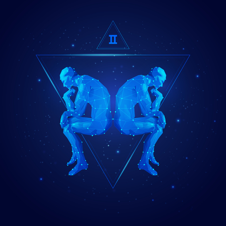 Graphic of gemini horoscope sign in twelve zodiac with galaxy stars background, graphic of polygon man thinking