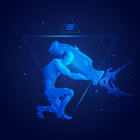 graphic of aquarius horoscope sign in twelve zodiac with galaxy stars background