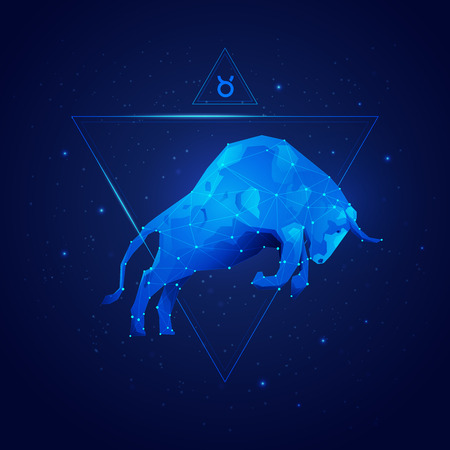 graphic of taurus horoscope sign in twelve zodiac with galaxy stars background, vector of polygon bull