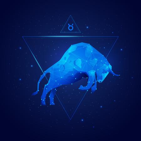 grafica del segno oroscopo Toro in dodici zodiaco con sfondo di stelle galassia, vettore di toro poligono Vettoriali
