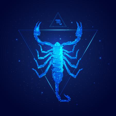 Escorpio signo del horóscopo en doce zodíacos con fondo de estrellas de galaxias, gráfico de escorpión de estructura metálica