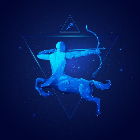 Signo del horóscopo de Sagitario en doce zodíacos con fondo de estrellas de galaxia, gráfico de centauro de estructura metálica Ilustración de vector