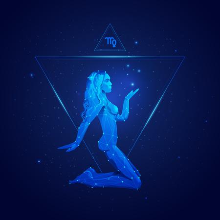 Maagd horoscoop teken in twaalf dierenriem met melkweg sterren achtergrond, afbeelding van draadframe meisje