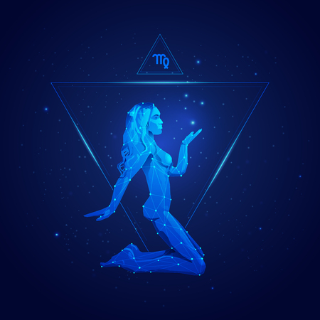 Virgo signo del horóscopo en doce zodíacos con fondo de estrellas de galaxias, gráfico de chica de estructura metálica