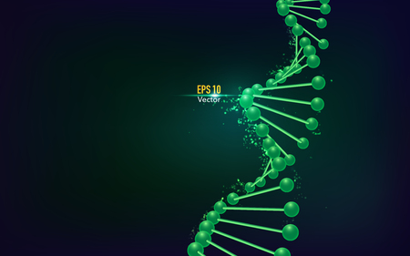 concept of biological technology, DNA structure on dark green background Ilustrace
