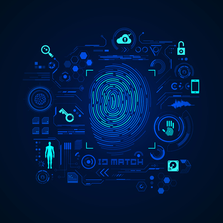 concept of cyber security or biometrics, graphic of futuristic fingerprint with digital technology icons