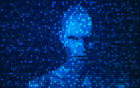 concept of artificial intelligence or AI, shape of a man combined with programming code