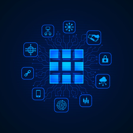 concept of block chain technology, futuristic cube with digital business icons