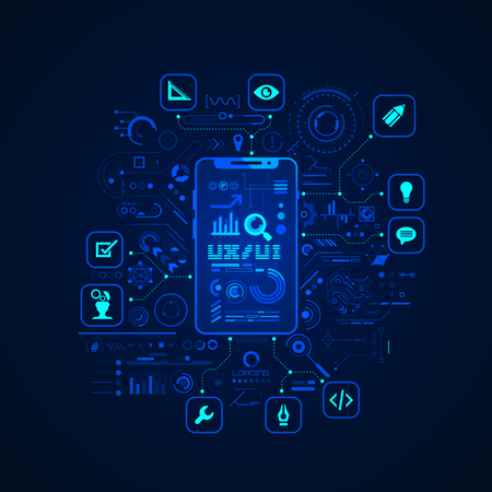 concept of UX UI design, graphic of device application with digital technology icons Ilustrace