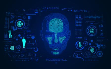 concepto de detección de rostros o biometría, forma de rostro humano combinada con huella dactilar con interfaz de tecnología digital