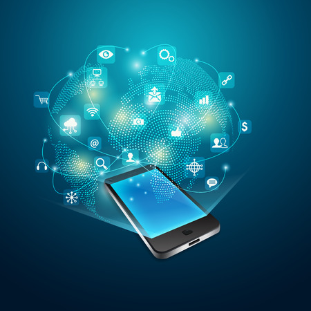 concept of mobile communication technology, graphic of realistic device with global network simulation