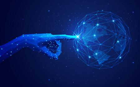 concept de réseau mondial ou de technologie de communication, main futuriste pointant sur un globe filaire