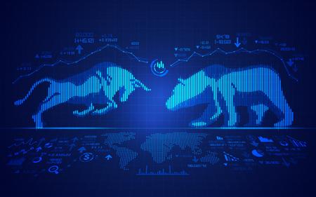 koncepcja giełdy, grafika byka i niedźwiedzia połączona ze świecznikiem