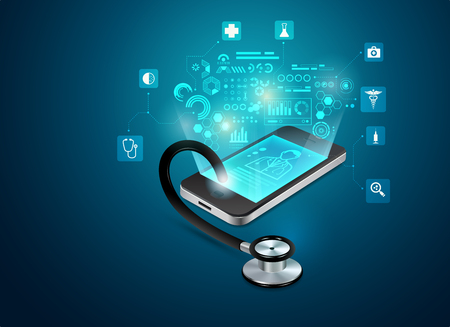 concept of telemedicine or e-health, graphic of realistic smart device with stethoscope reaching out from the screen Illustration