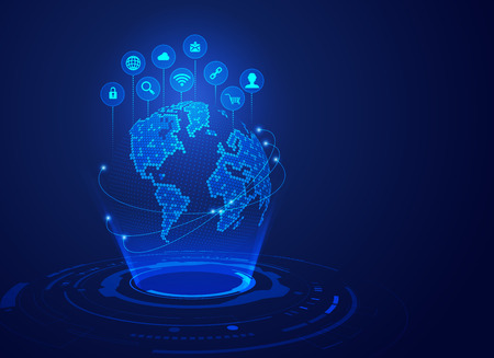 concept of modern world technology, futuristic globe with digital technology icons