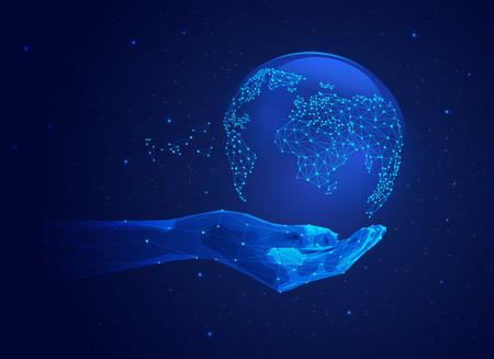 concept de réseau mondial ou de technologie de communication, main futuriste tenant un globe filaire Vecteurs
