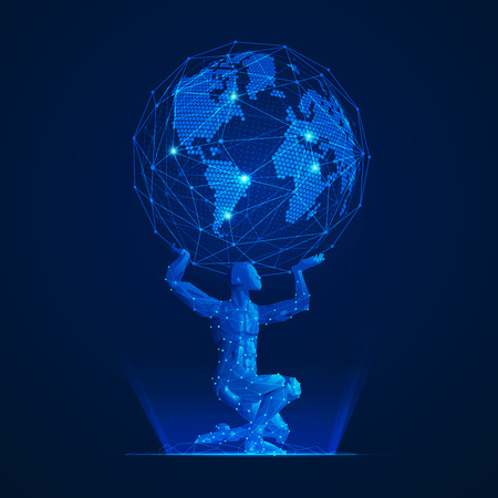 wireframe polygon man carrying globe in futuristic style, graphic of atlas in modarn abstract style