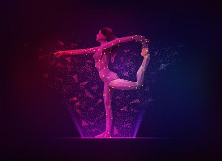 Konzept der Sportwissenschaft, Polygon-Athletin, die gymnastische Pose zeigt