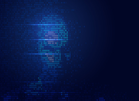 concept of  artificial intelligence or hackers, shape of human face combined with binary code