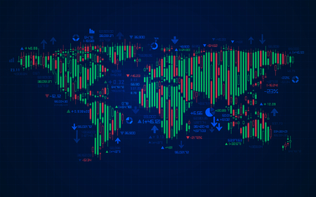concept of stock market exchange, graphic of worldmap combined with candlestick symbol