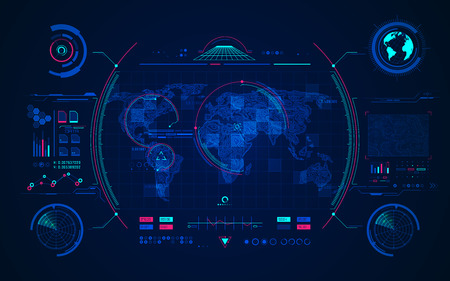 Mapa del mundo del terreno con interfaz de radar digital, concepto de tecnología de comunicación