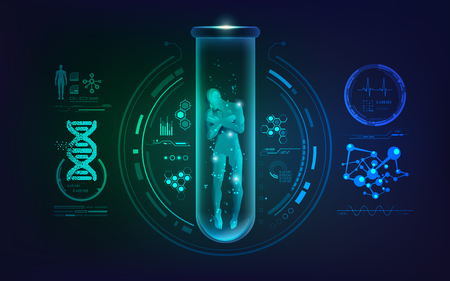 concept of genetic engineering or biotechnology, graphic of human in a test tube with science interface