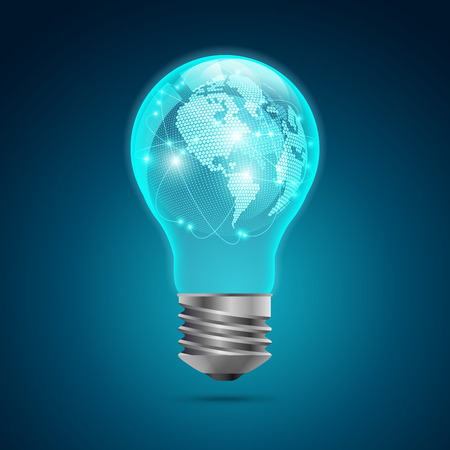 graphic of realistic light bulb with digital globe inside, concept of creative world technology Illustration