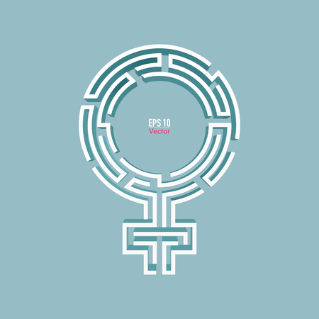 graphic of female sign combined with maze shape