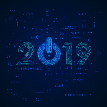 graphic of new year 2019 in technology style