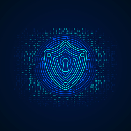 concept of cyber security, shape of shield combined with electronic pattern Çizim