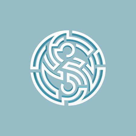 yin yang symbol combined with maze shape